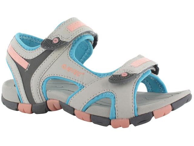 Hi-Tec GT Strap Sandals Juniors Cool Grey/Curacou Blue/ Papaya Punch